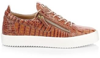 Giuseppe Zanotti Croc-Embossed Leather Sneakers