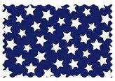 Camilla And Marc SheetWorld Primary Stars White On Navy Woven Fabric - By The Yard - 101.6 cm (44 inches)