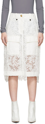 Sacai White Embroidered Lace Skirt