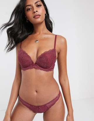 Dorina Kendall recycled micro lace brazilian brief in pink