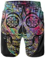 Bmen Sugar Skull Watercolor Men Quick Dry Surfing Boardshorts XXL