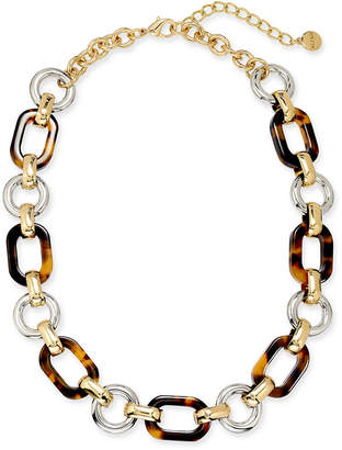 """Alfani Two-Tone & Tortoise-Look Chain Link Collar Necklace, 17"""" + 2"""" extender"""
