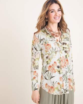 Chico's Chicos Silky Soft Desert Bouquet Half-Placket Shirt