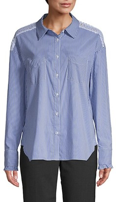 Laundry by Shelli Segal Lace-Trim Cotton Blend Button-Down Shirt