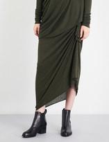 Lilies Asymmetric draped jersey midi skirt