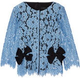 Marc Jacobs Bow-embellished Silk Twill-paneled Guipure Lace Top - Light blue