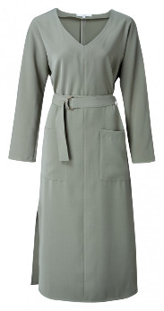 Ya-Ya Belted Dress with Pockets - Khaki - khaki | polyester | Size 36 (Size 10) - Khaki