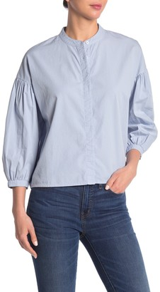 Stateside Poplin Mandarin Collar Button Down Shirt