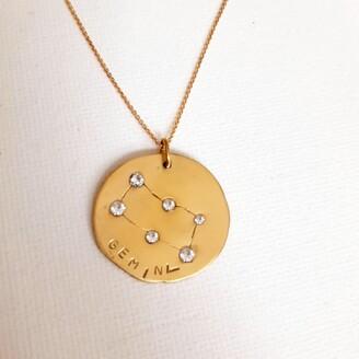 Gemini Solid Gold & Diamond Pendant Necklace