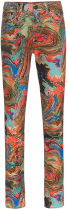 R 13 x Alison Mosshart marbled jeans