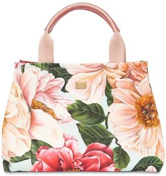 Dolce & Gabbana Floral Print Cotton Canvas Bag