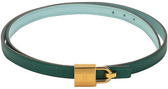 One Kings Lane Vintage Hermes Green & Blue Atoll Lock Belt - Vintage Lux
