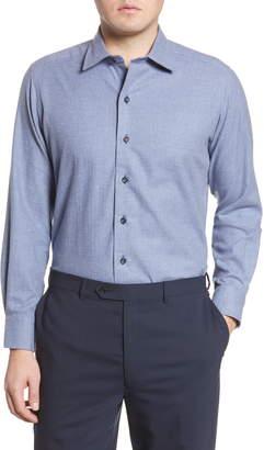 David Donahue Trim Fit Peached Dress Shirt