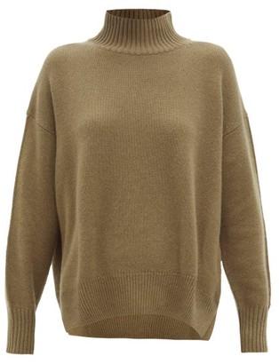 Allude High-neck Cashmere Sweater - Khaki