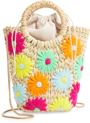 Poolside Mini Susan Neon Daisy Straw Crossbody Bag