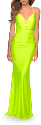 La Femme Deep V-Neck Ruched Strappy Back Jersey Gown