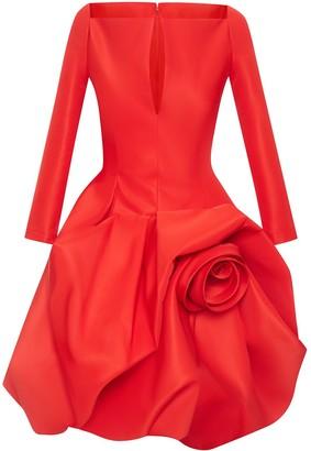 Oscar de la Renta Floral Long-Sleeve Puffball Dress
