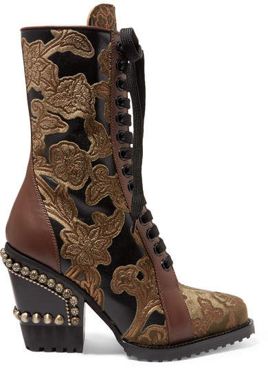 Chloé Rylee Studded Brocade And Appliquéd Leather Ankle Boots - Brown