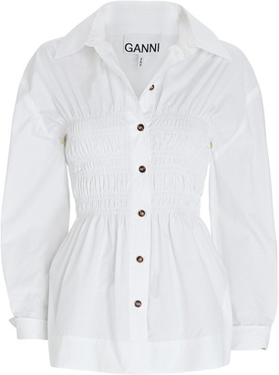 Ganni Smocked Poplin Button-Down Shirt