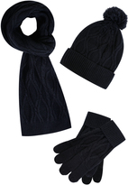 Yours Clothing BadRhino Navy Cable Knit Hat Scarf & Gloves Set