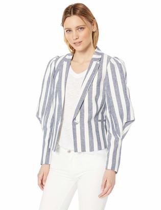 BCBGMAXAZRIA Women's Striped Pleated Shoulder Blazer