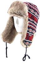 FUR WINTER Wool Blend Cable Knit Faux Fur Aviator Bomber Trapper Trooper Pilot Ski Hat Snowflake RED M/L