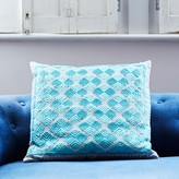 Graham and Green Phulkari Square Cushion In Turquoise