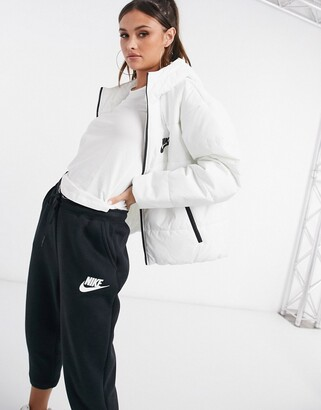Nike padded jacket with back swoosh in white