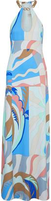 Emilio Pucci Cutout Chain-trimmed Printed Stretch-cady Maxi Dress
