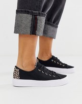 Asos Design DESIGN Dusty lace up sneakers in black and leopard