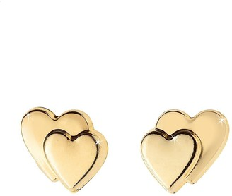 Love Gold 9 Carat Gold Heart On Heart Earrings In Red Heart Box