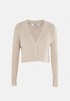 Missguided Camel Rib Mock Pearl Cropped Cardigan