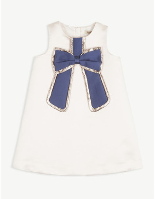 Hucklebones London Gilded bow satin shift dress 4-12 years