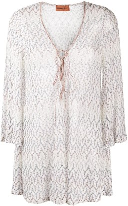 Missoni Mare Semi-Sheer Embroidered Leaf Blouse