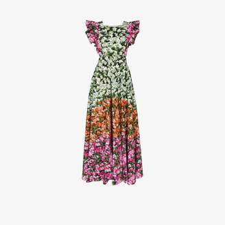 Mary Katrantzou Womens Pink Floral Cotton Poplin Maxi Dress