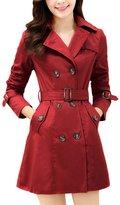 MFrannie Women Retro Double Breasted Slim Autumn Trench Coat M