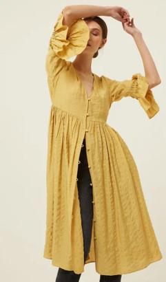 Jovonna London Capria Midi Textured Dress - S | mustard - Navy/Mustard