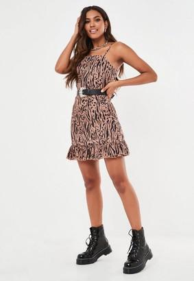 Missguided Brown Leopard Tie Back Mini Dress