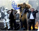 "Star Wars Peter Mayhew Signed ""Chewbacca"" with Finn and Han Solo Under Arrest in Episode VII: The Force Awakens 8"" x 10"" Photo"