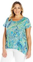 Caribbean Joe Women's Plus-Size Jersey Short Sleeve Scoop Neck High Low Hem Line