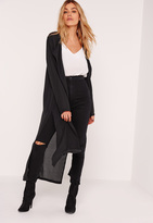 Missguided Tie Choker Chiffon Duster Coat Black