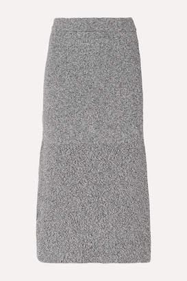 Tibi Fluted Melange Knitted Midi Skirt - Gray