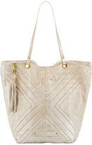 Badgley Mischka Eden 2 Quilted Leather Tote Bag, Sand