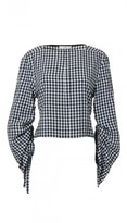 Tibi Viscose Gingham Boatneck Top