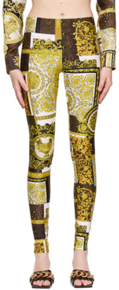 Versace White Barocco Patchwork Print Leggings
