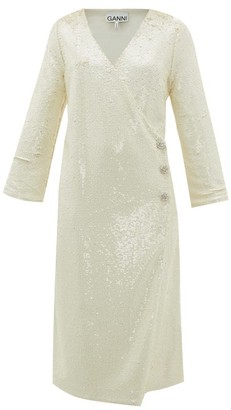 Ganni Crystal-button Sequinned Wrap Dress - Ivory