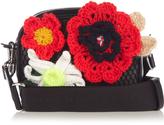 Christopher Kane Crochet-flower and leather cross-body bag