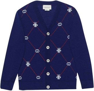 Gucci Cobalt-blue Cardigan With Red Stripes