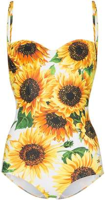 Dolce & Gabbana Sunflower Print One-Piece Swimsuit