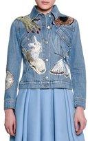 Alexander McQueen Icon Embroidered Jean Jacket, Indigo